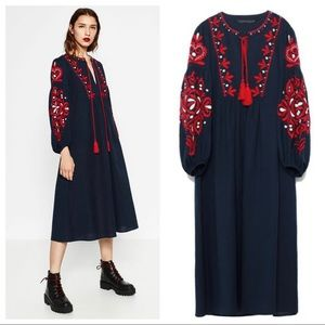 ZARA Bohemian Navy Red Embroidered Dress
